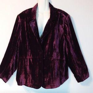 Lane Bryant Plus Size 26 Burgandy Velvet Jacket